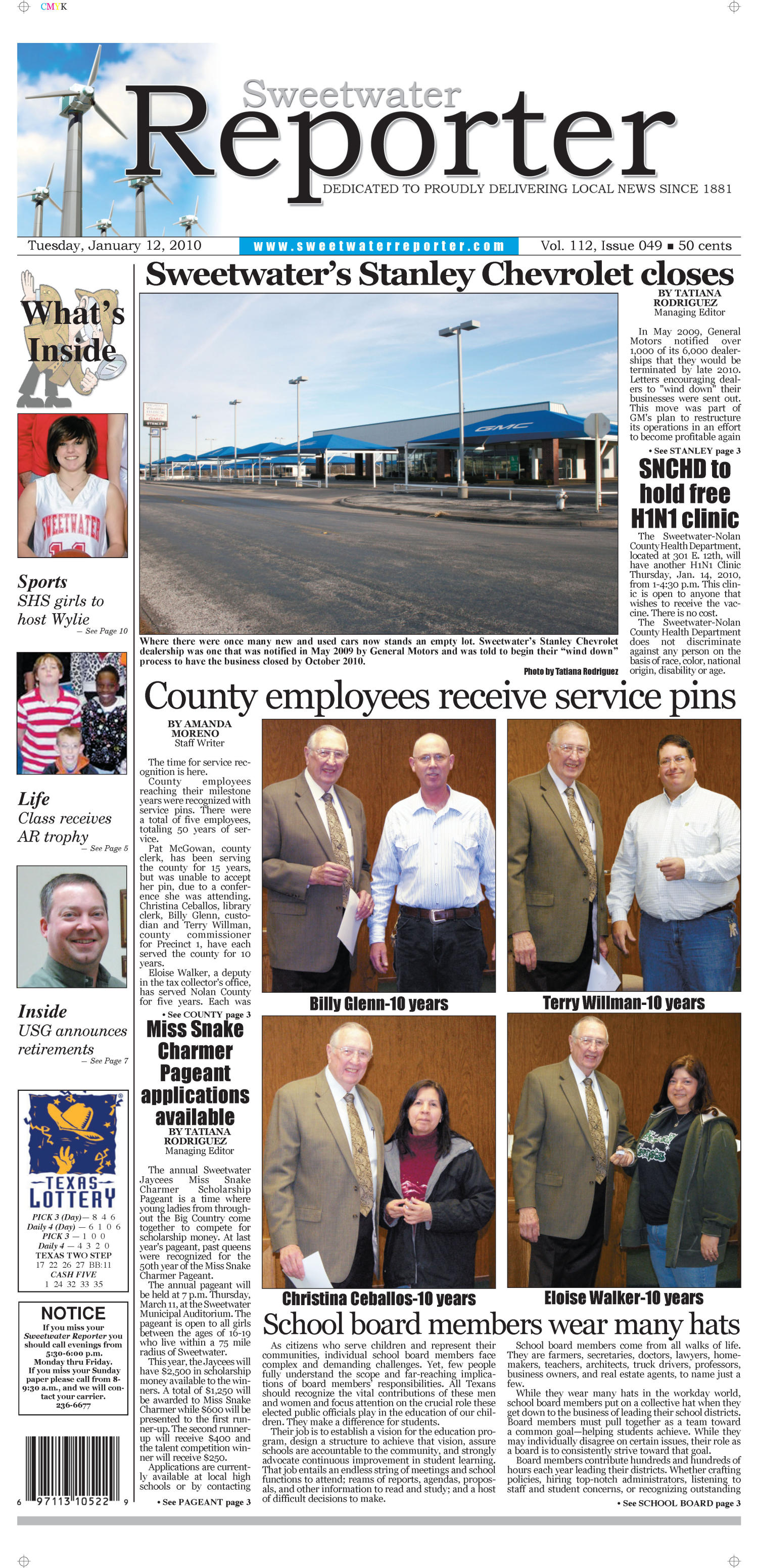 Sweetwater Reporter (Sweetwater, Tex.), Vol. 112, No. 049, Ed. 1 Tuesday, January 12, 2010                                                                                                      [Sequence #]: 1 of 10