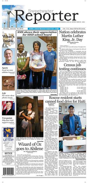 Sweetwater Reporter (Sweetwater, Tex.), Vol. 112, No. 054, Ed. 1 Monday, January 18, 2010