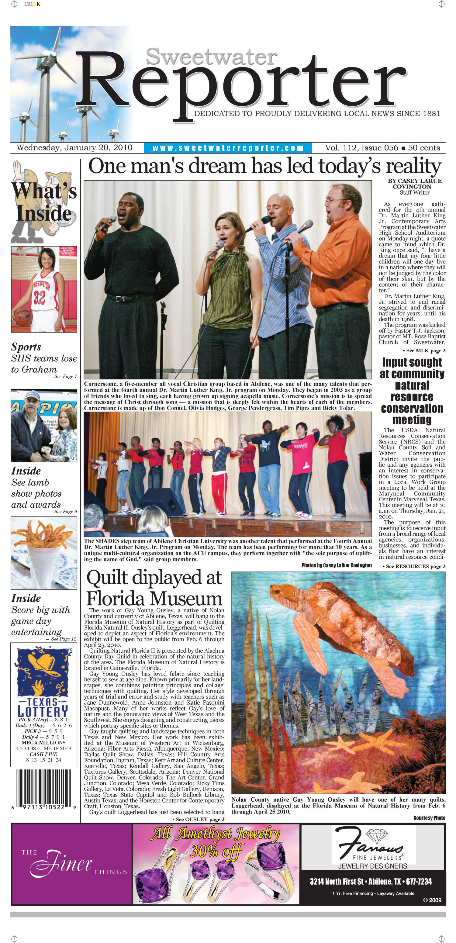 Sweetwater Reporter (Sweetwater, Tex.), Vol. 112, No. 056, Ed. 1 Wednesday, January 20, 2010                                                                                                      [Sequence #]: 1 of 12