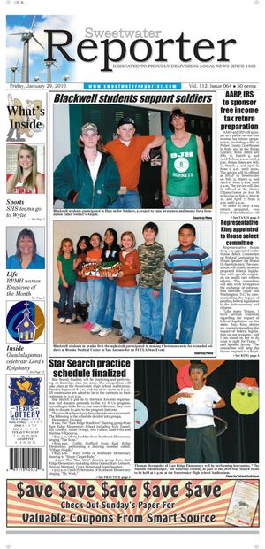 Sweetwater Reporter (Sweetwater, Tex.), Vol. 112, No. 064, Ed. 1 Friday, January 29, 2010