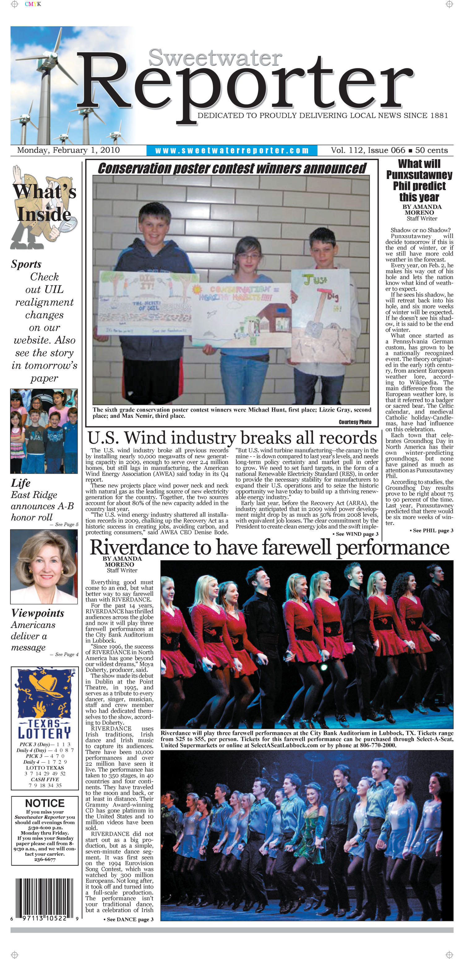 Sweetwater Reporter (Sweetwater, Tex.), Vol. 112, No. 066, Ed. 1 Monday, February 1, 2010                                                                                                      [Sequence #]: 1 of 10