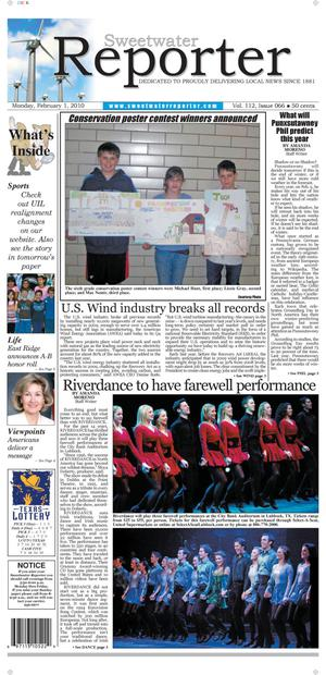 Sweetwater Reporter (Sweetwater, Tex.), Vol. 112, No. 066, Ed. 1 Monday, February 1, 2010
