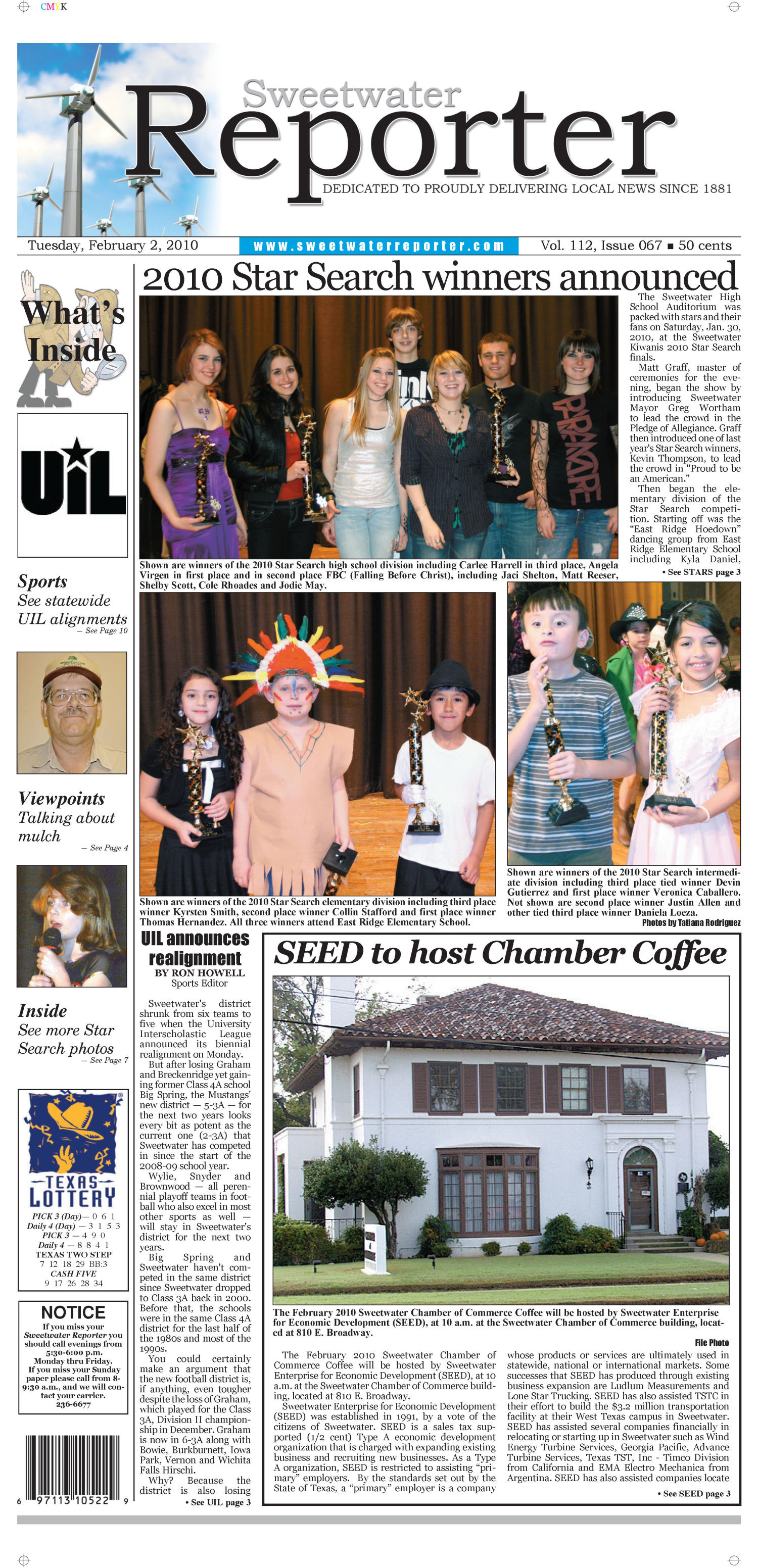 Sweetwater Reporter (Sweetwater, Tex.), Vol. 112, No. 067, Ed. 1 Tuesday, February 2, 2010                                                                                                      [Sequence #]: 1 of 10