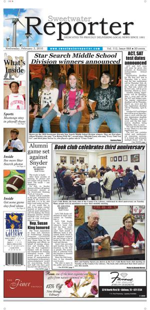 Sweetwater Reporter (Sweetwater, Tex.), Vol. 112, No. 068, Ed. 1 Wednesday, February 3, 2010