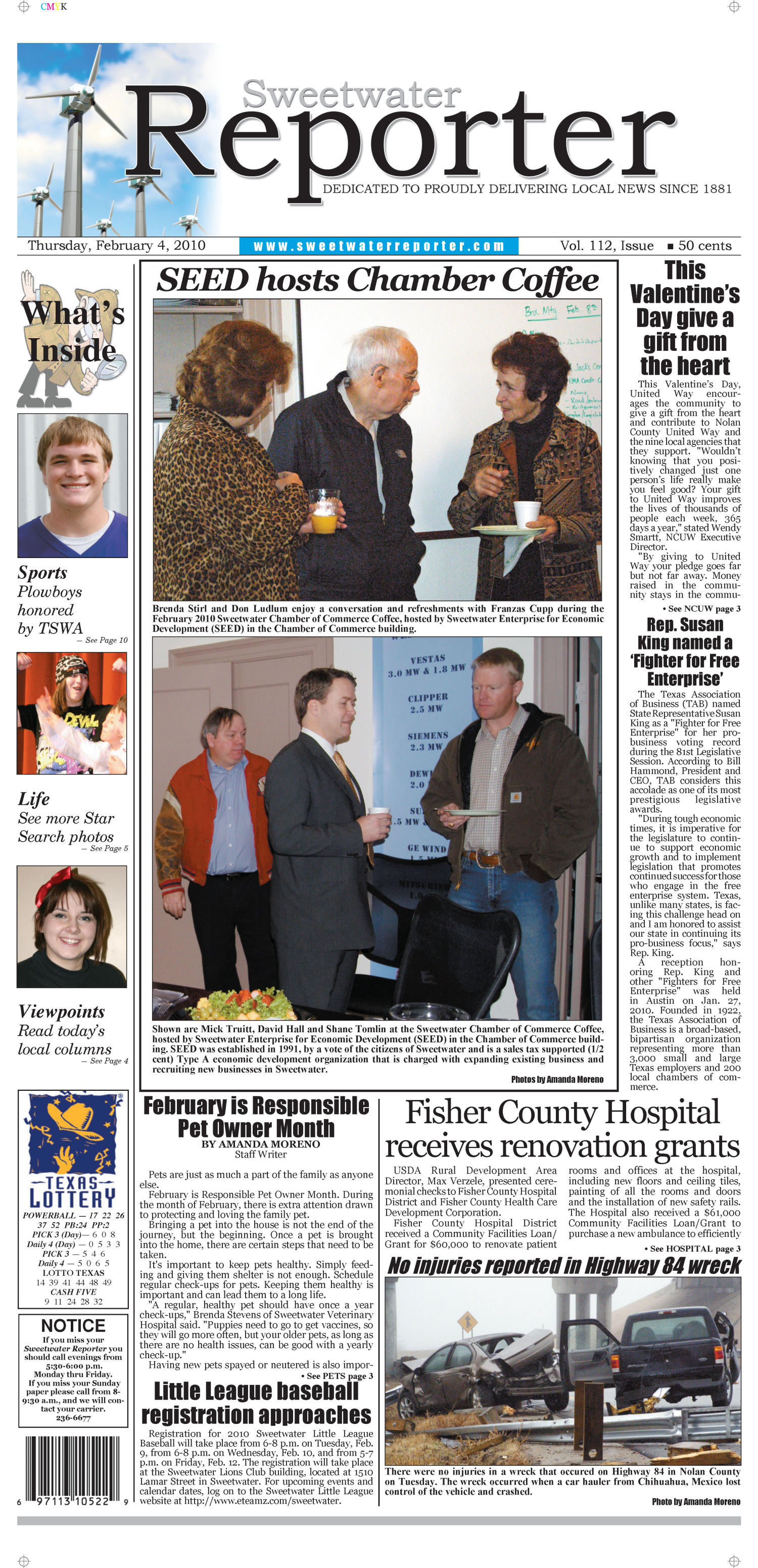 Sweetwater Reporter (Sweetwater, Tex.), Vol. 112, No. [069], Ed. 1 Thursday, February 4, 2010                                                                                                      [Sequence #]: 1 of 10