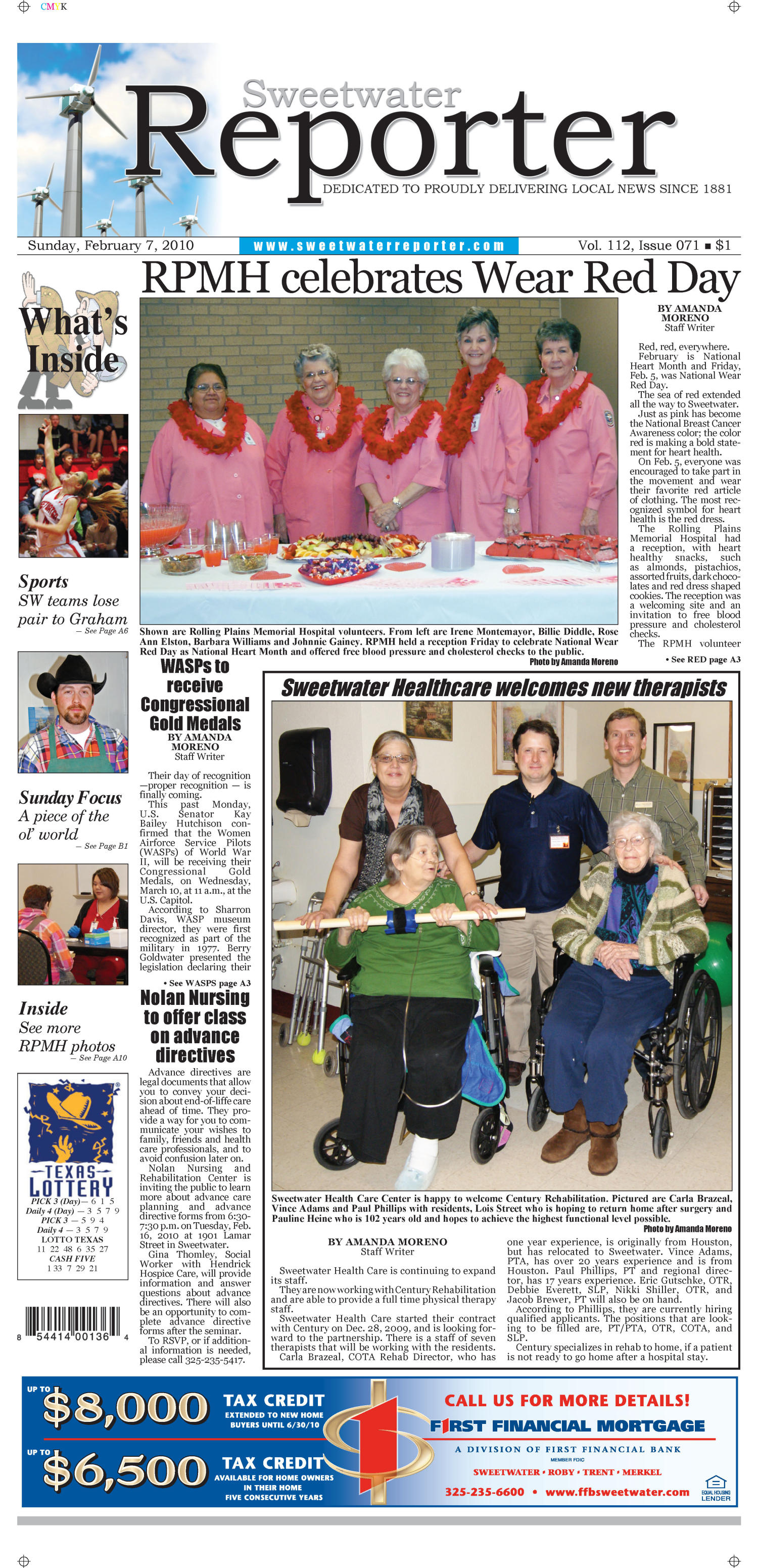 Sweetwater Reporter (Sweetwater, Tex.), Vol. 112, No. 071, Ed. 1 Sunday, February 7, 2010                                                                                                      [Sequence #]: 1 of 18