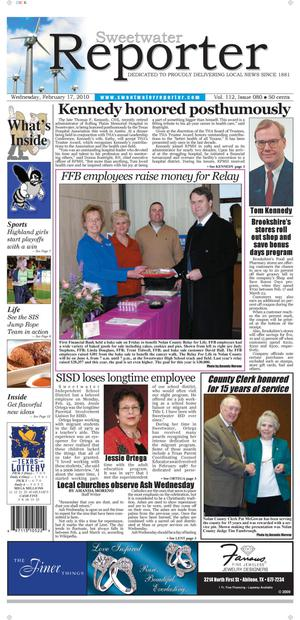 Sweetwater Reporter (Sweetwater, Tex.), Vol. 112, No. 080, Ed. 1 Wednesday, February 17, 2010