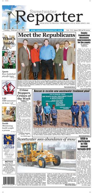 Sweetwater Reporter (Sweetwater, Tex.), Vol. 112, No. 085, Ed. 1 Tuesday, February 23, 2010