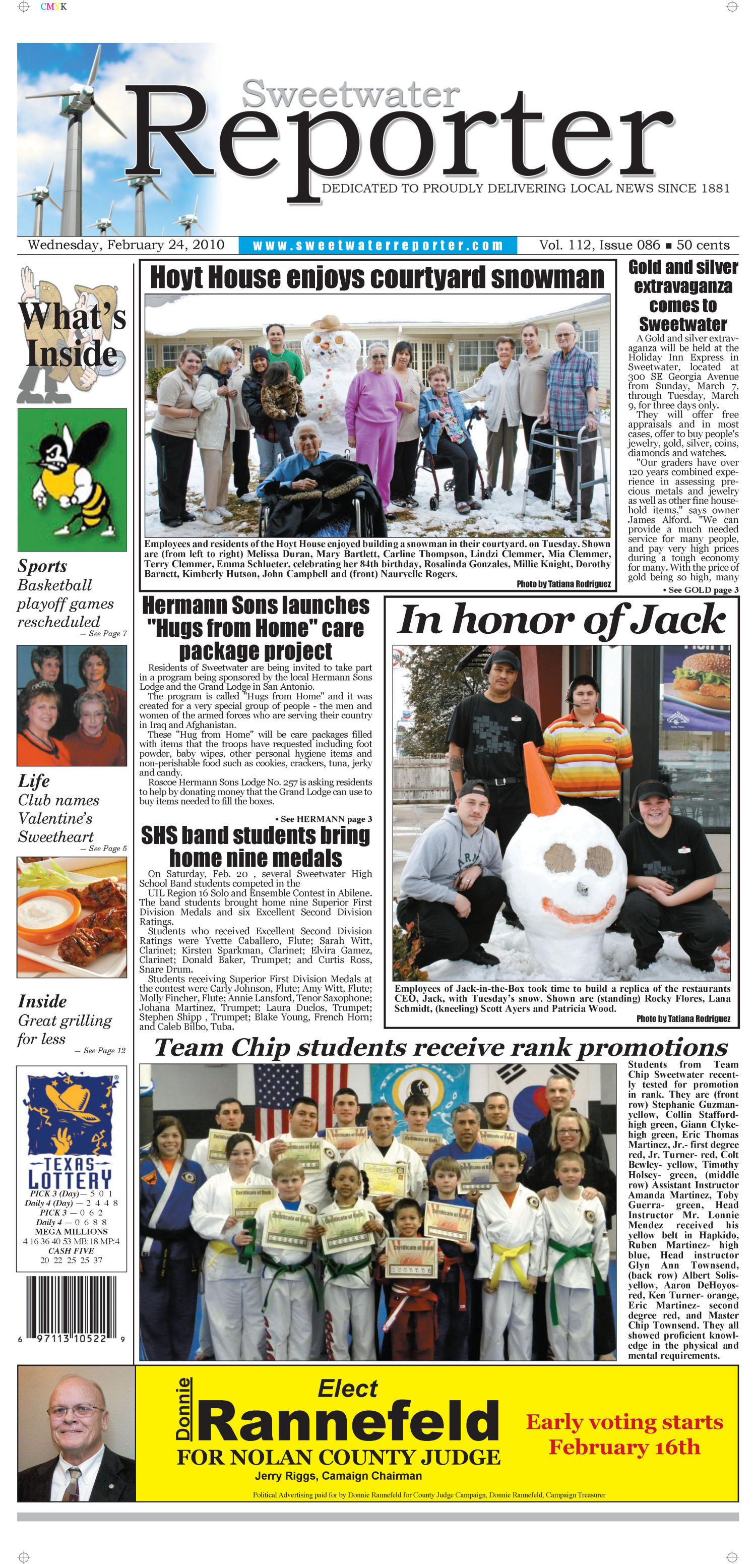 Sweetwater Reporter (Sweetwater, Tex.), Vol. 112, No. 086, Ed. 1 Wednesday, February 24, 2010                                                                                                      [Sequence #]: 1 of 12