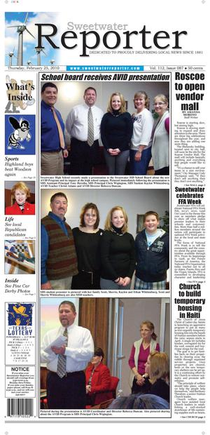 Sweetwater Reporter (Sweetwater, Tex.), Vol. 112, No. 087, Ed. 1 Thursday, February 25, 2010