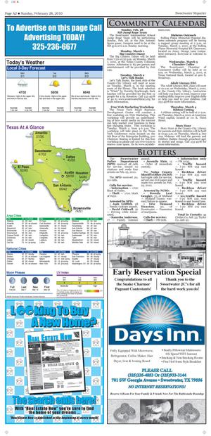 Sweetwater Reporter (Sweetwater, Tex.), Vol. [112], No. [089], Ed. 1 Sunday, February 28, 2010