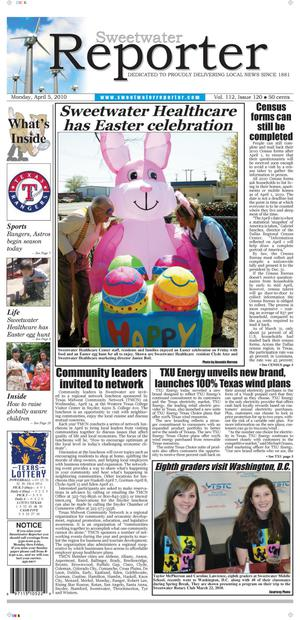 Sweetwater Reporter (Sweetwater, Tex.), Vol. 112, No. 120, Ed. 1 Monday, April 5, 2010