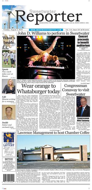 Sweetwater Reporter (Sweetwater, Tex.), Vol. 112, No. 221, Ed. 1 Tuesday, August 3, 2010