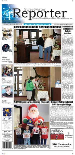 Sweetwater Reporter (Sweetwater, Tex.), Vol. 113, No. 033, Ed. 1 Thursday, December 23, 2010