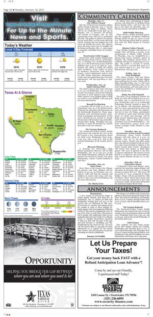 Sweetwater Reporter (Sweetwater, Tex.), Vol. 113, No. 054, Ed. 1 Sunday, January 16, 2011