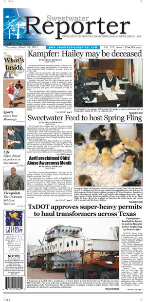 Sweetwater Reporter (Sweetwater, Tex.), Vol. 113, No. 118, Ed. 1 Thursday, March 31, 2011