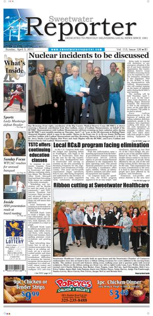 Sweetwater Reporter (Sweetwater, Tex.), Vol. 113, No. 120, Ed. 1 Sunday, April 3, 2011