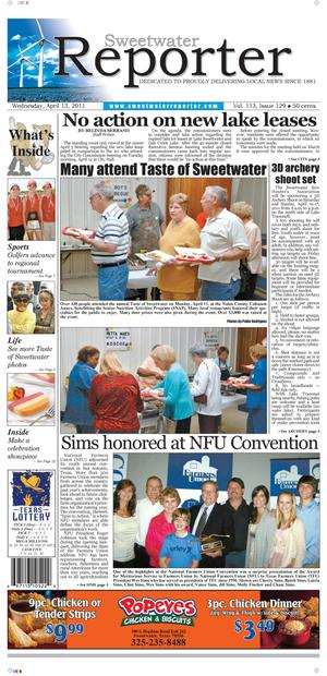 Sweetwater Reporter (Sweetwater, Tex.), Vol. 113, No. 129, Ed. 1 Wednesday, April 13, 2011