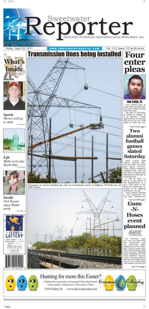 Sweetwater Reporter (Sweetwater, Tex.), Vol. 113, No. 137, Ed. 1 Friday, April 22, 2011
