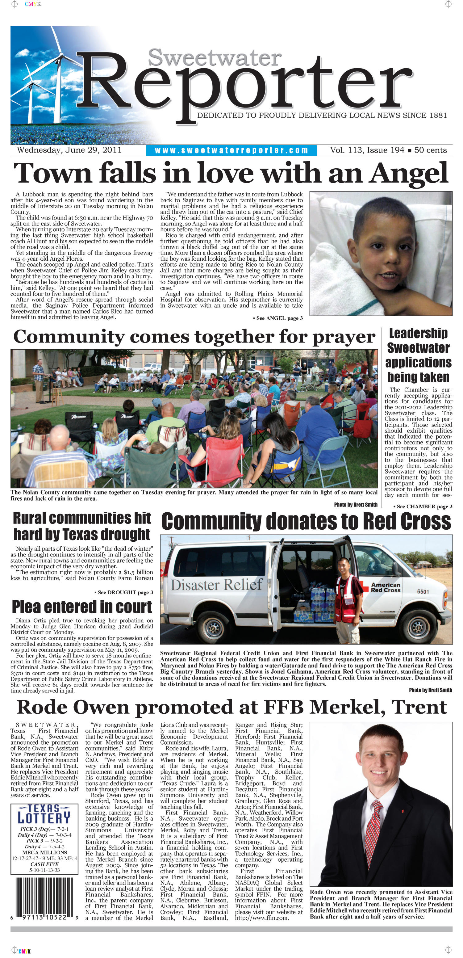 Sweetwater Reporter (Sweetwater, Tex.), Vol. 113, No. 194, Ed. 1 Wednesday, June 29, 2011                                                                                                      [Sequence #]: 1 of 12