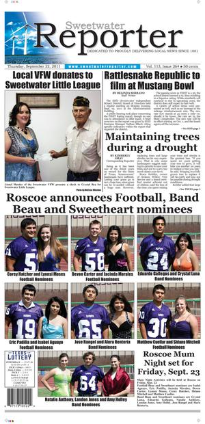 Sweetwater Reporter (Sweetwater, Tex.), Vol. 113, No. 264, Ed. 1 Thursday, September 22, 2011