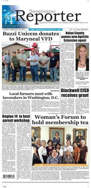 Sweetwater Reporter (Sweetwater, Tex.), Vol. 113, No. 266, Ed. 1 Sunday, September 25, 2011