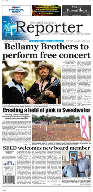 Sweetwater Reporter (Sweetwater, Tex.), Vol. 113, No. 281, Ed. 1 Wednesday, October 12, 2011
