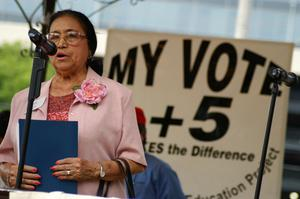 Primary view of object titled '[Adelfa Callejo speaking at a voting promotion event]'.