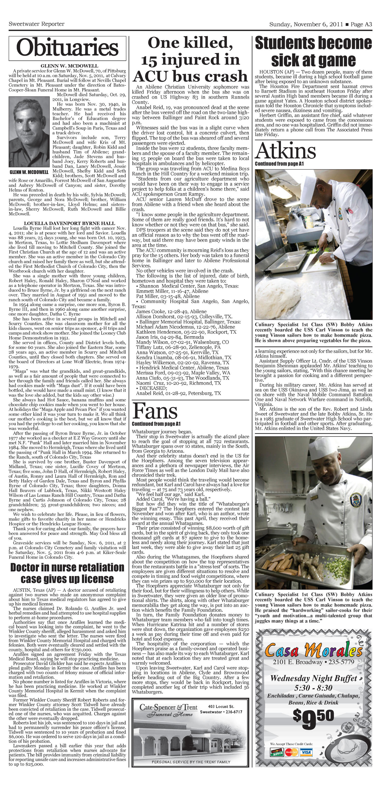 Sweetwater Reporter (Sweetwater, Tex.), Vol. 113, No. 302, Ed. 1 Sunday, November 6, 2011                                                                                                      [Sequence #]: 3 of 20