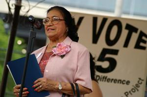 Primary view of object titled '[Adelfa Callejo at voting promotion event]'.