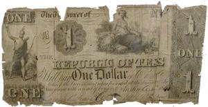 Primary view of object titled 'Republic of Texas One-Dollar Bill'.