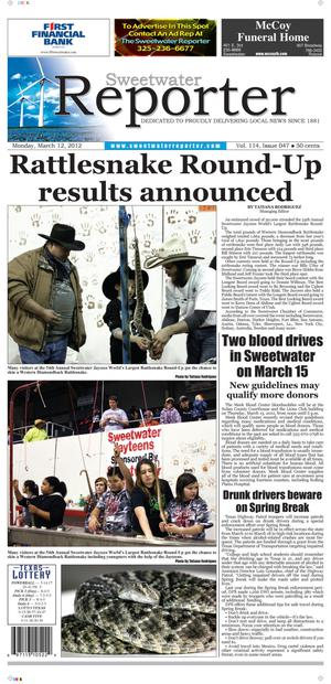 Sweetwater Reporter (Sweetwater, Tex.), Vol. 114, No. 047, Ed. 1 Monday, March 12, 2012