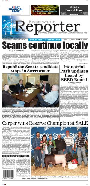 Sweetwater Reporter (Sweetwater, Tex.), Vol. 114, No. 049, Ed. 1 Wednesday, March 14, 2012