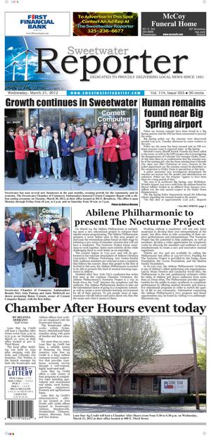 Sweetwater Reporter (Sweetwater, Tex.), Vol. 114, No. 055, Ed. 1 Wednesday, March 21, 2012