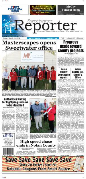 Primary view of object titled 'Sweetwater Reporter (Sweetwater, Tex.), Vol. 114, No. 057, Ed. 1 Friday, March 23, 2012'.