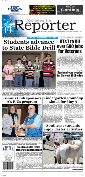 Sweetwater Reporter (Sweetwater, Tex.), Vol. 114, No. 071, Ed. 1 Monday, April 9, 2012