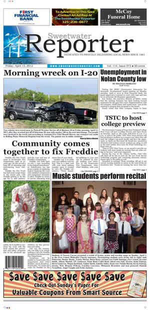 Sweetwater Reporter (Sweetwater, Tex.), Vol. 114, No. 075, Ed. 1 Friday, April 13, 2012