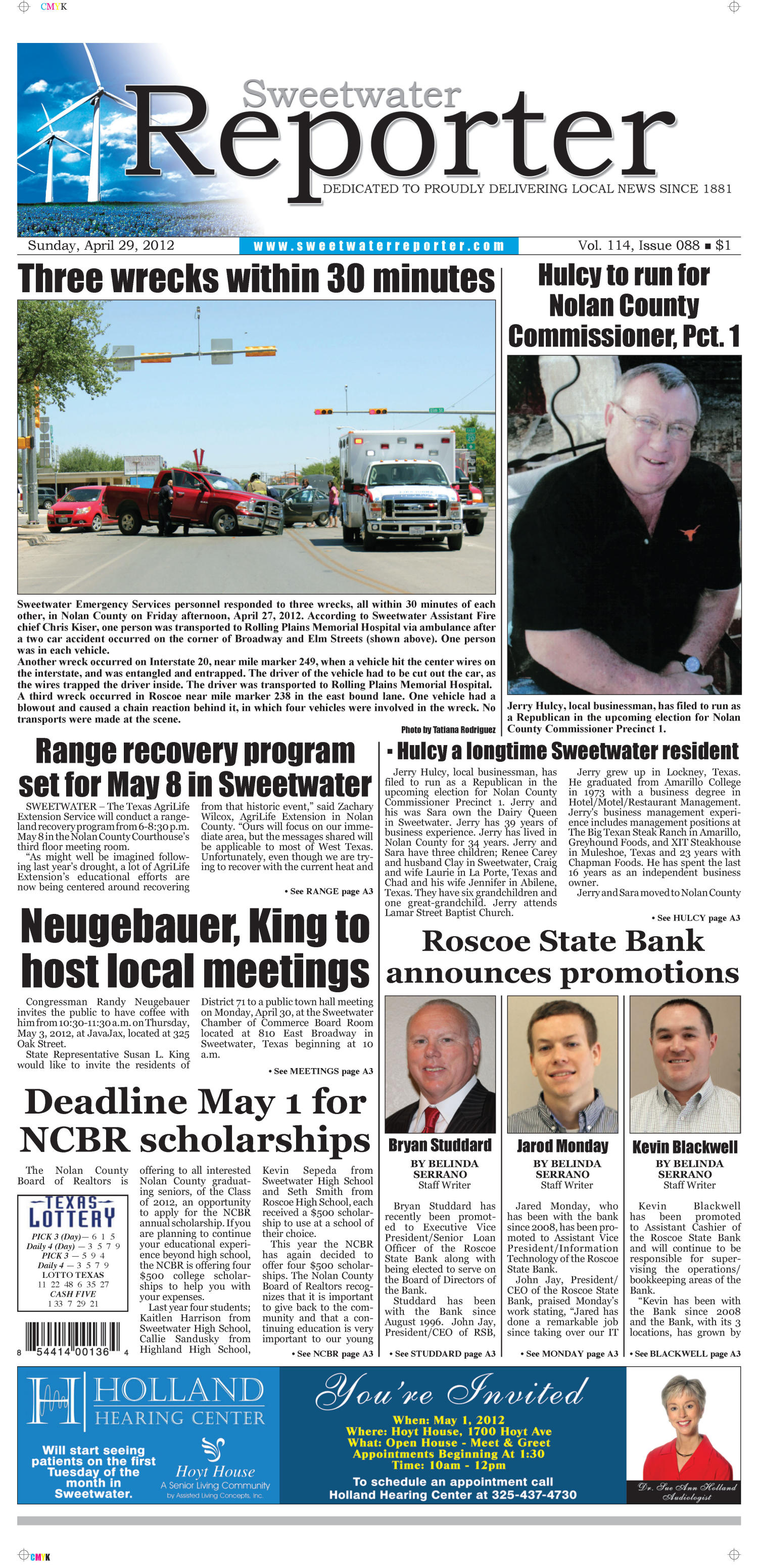 Sweetwater Reporter (Sweetwater, Tex.), Vol. 114, No. 088, Ed. 1 Sunday, April 29, 2012                                                                                                      [Sequence #]: 1 of 20