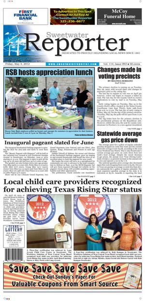 Sweetwater Reporter (Sweetwater, Tex.), Vol. 114, No. 093, Ed. 1 Friday, May 4, 2012