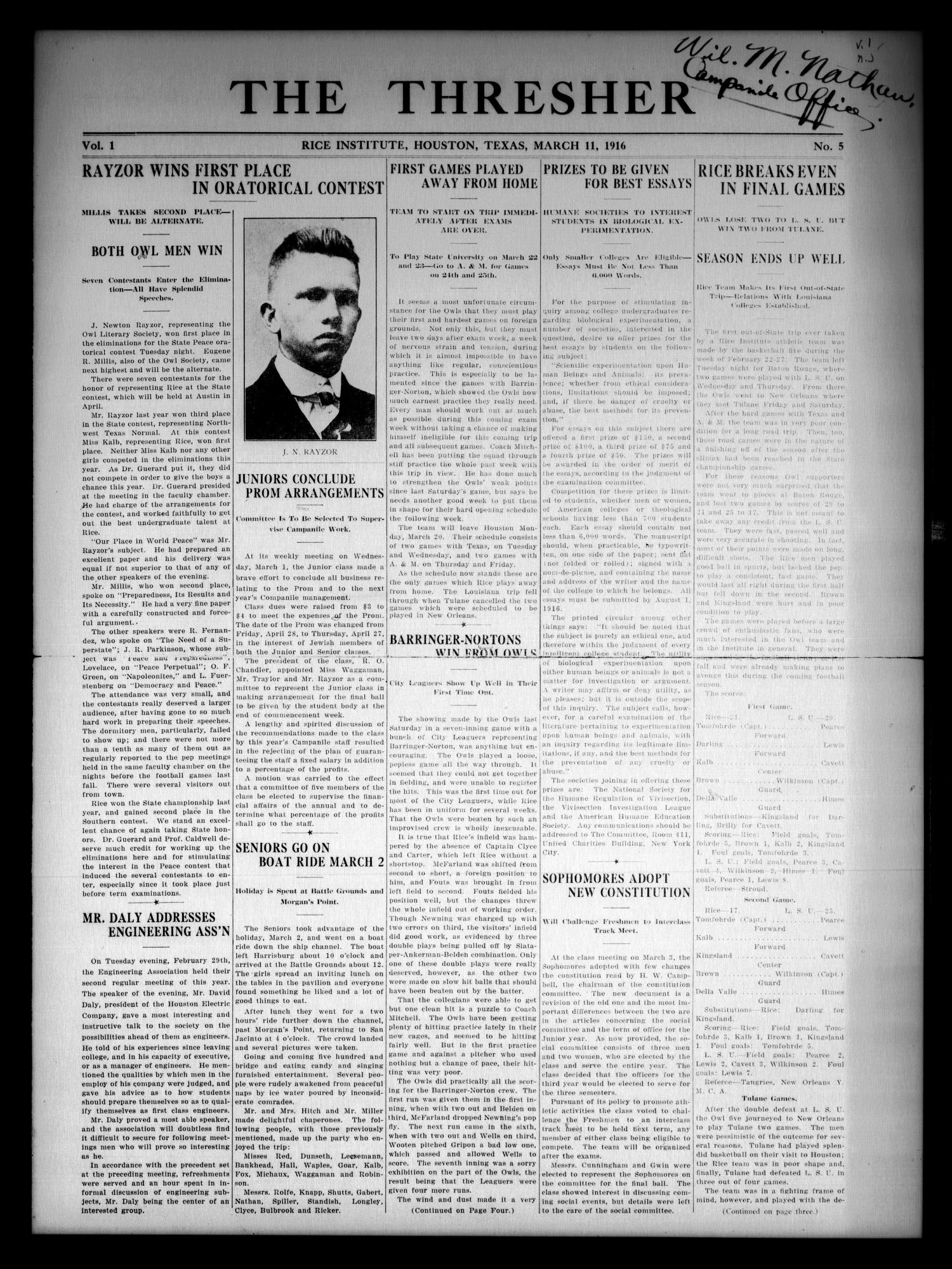 The Thresher (Houston, Tex.), Vol. 1, No. 5, Ed. 1 Saturday, March 11, 1916                                                                                                      [Sequence #]: 1 of 4