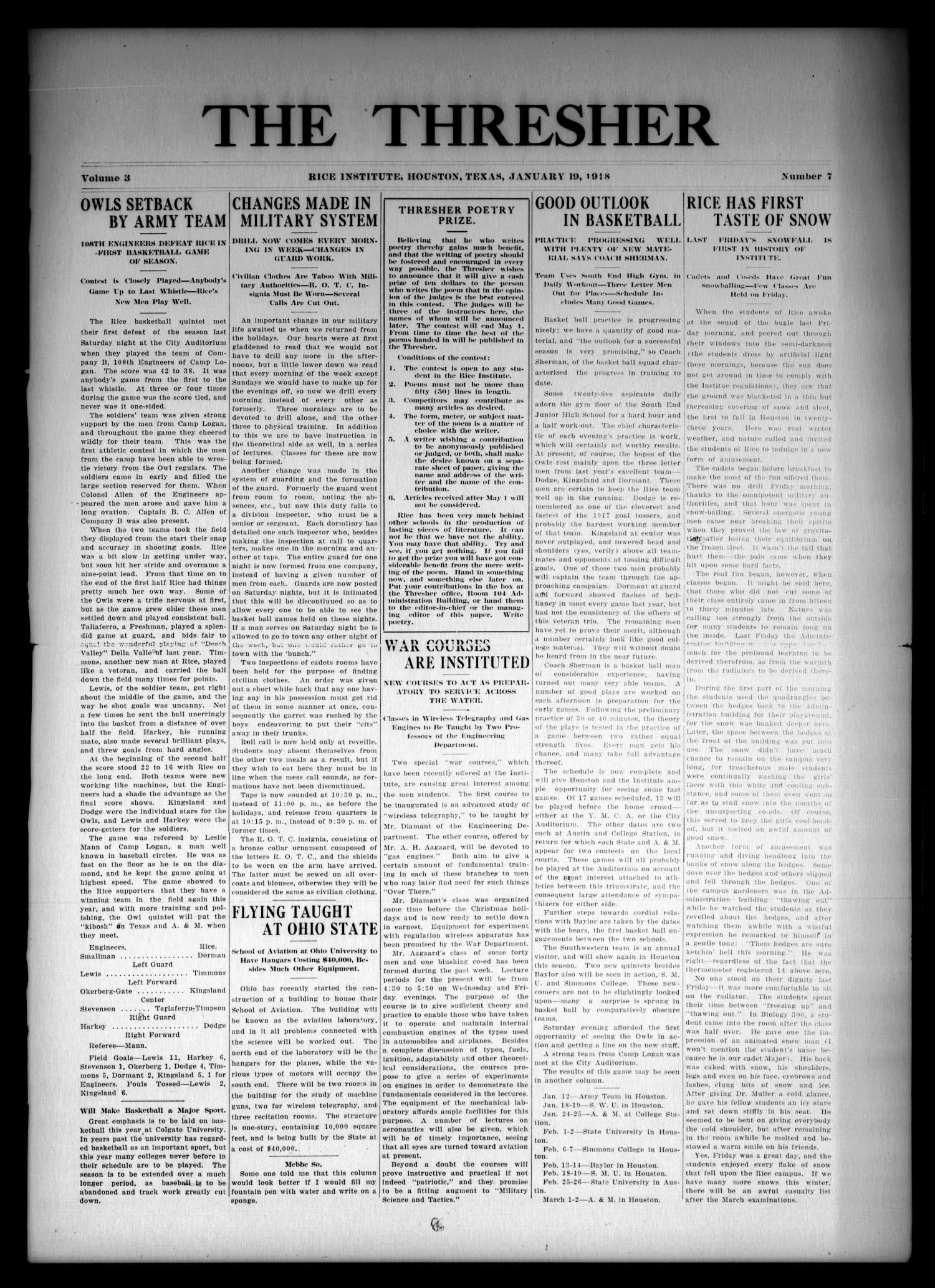 The Thresher (Houston, Tex.), Vol. 3, No. 7, Ed. 1 Saturday, January 19, 1918                                                                                                      [Sequence #]: 1 of 4