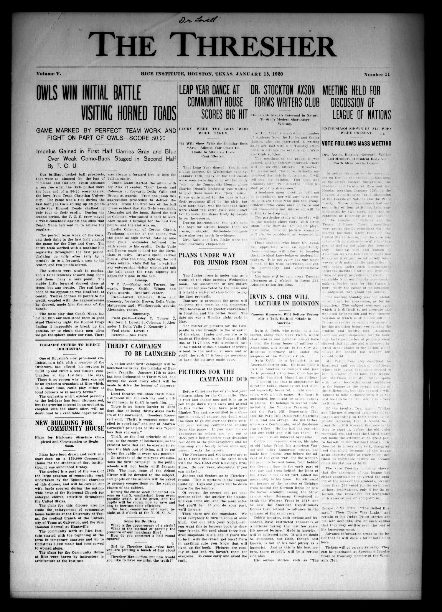 The Thresher (Houston, Tex.), Vol. 5, No. 11, Ed. 1 Thursday, January 15, 1920                                                                                                      [Sequence #]: 1 of 4