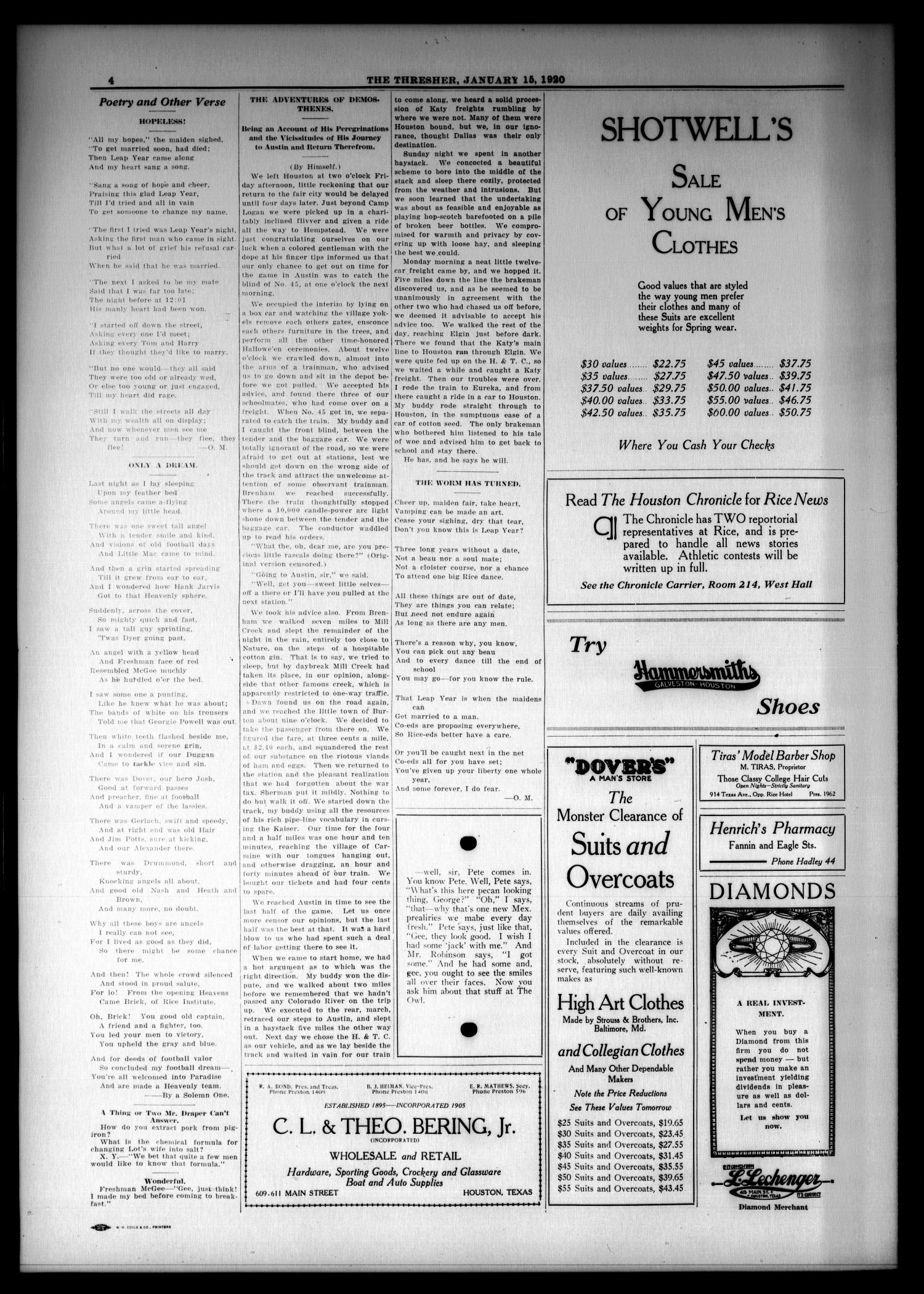 The Thresher (Houston, Tex.), Vol. 5, No. 11, Ed. 1 Thursday, January 15, 1920                                                                                                      [Sequence #]: 4 of 4