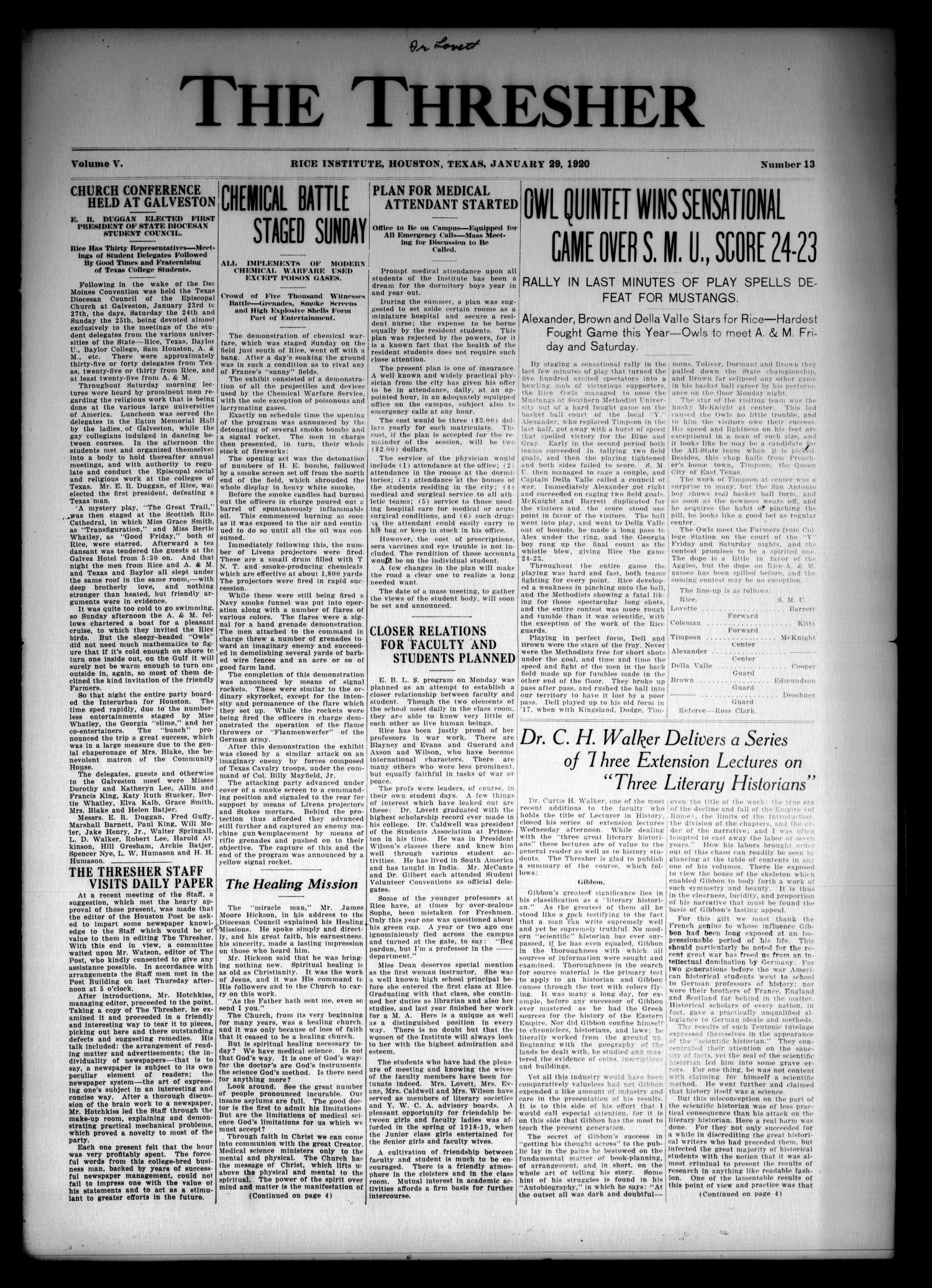 The Thresher (Houston, Tex.), Vol. 5, No. 13, Ed. 1 Thursday, January 29, 1920                                                                                                      [Sequence #]: 1 of 4