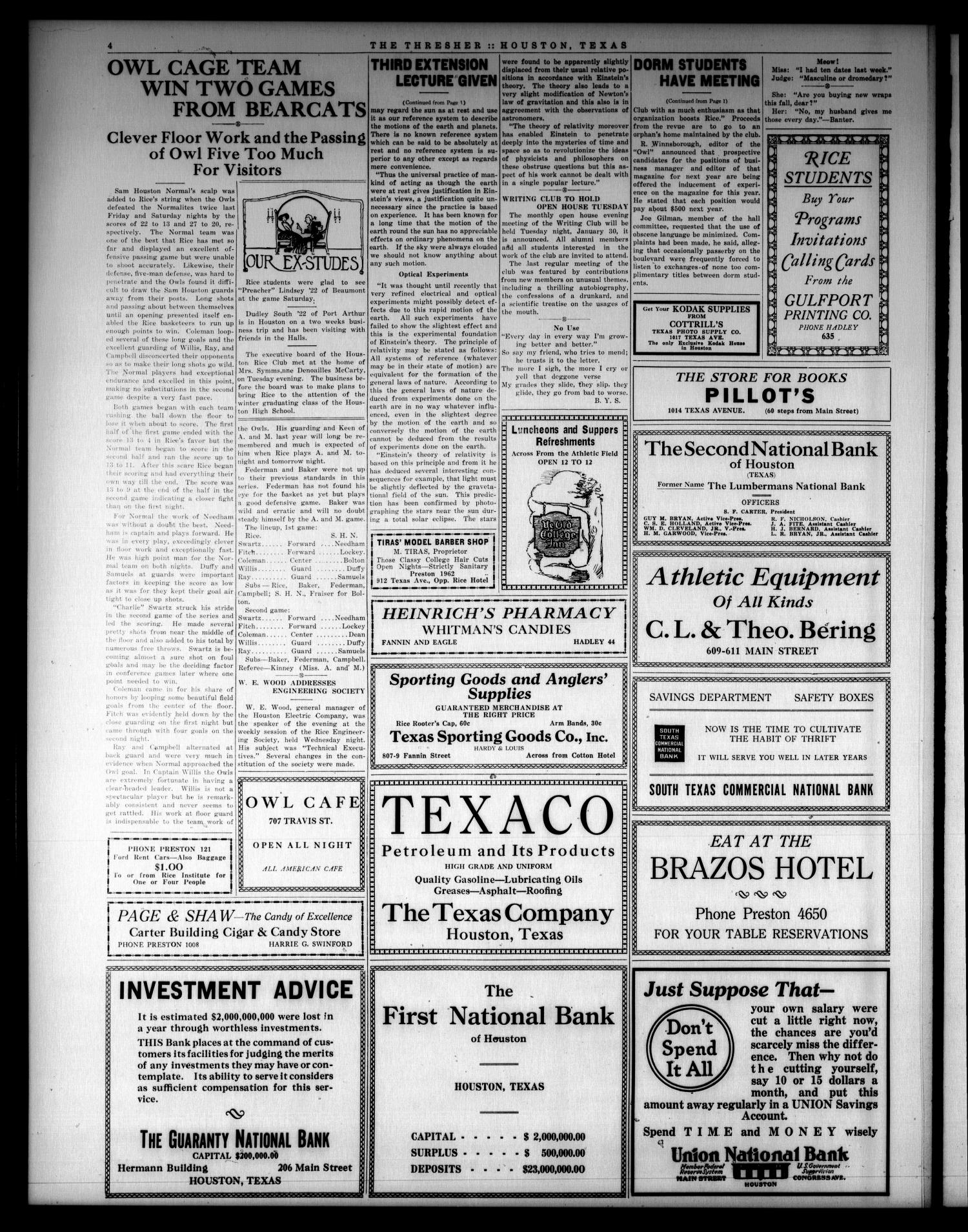 The Thresher (Houston, Tex.), Vol. 8, No. 17, Ed. 1 Friday, January 26, 1923                                                                                                      [Sequence #]: 4 of 4