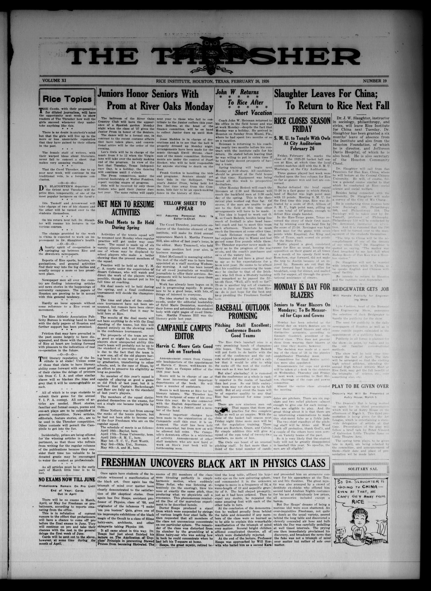 The Thresher (Houston, Tex.), Vol. 11, No. 19, Ed. 1 Friday, February 26, 1926                                                                                                      [Sequence #]: 1 of 4