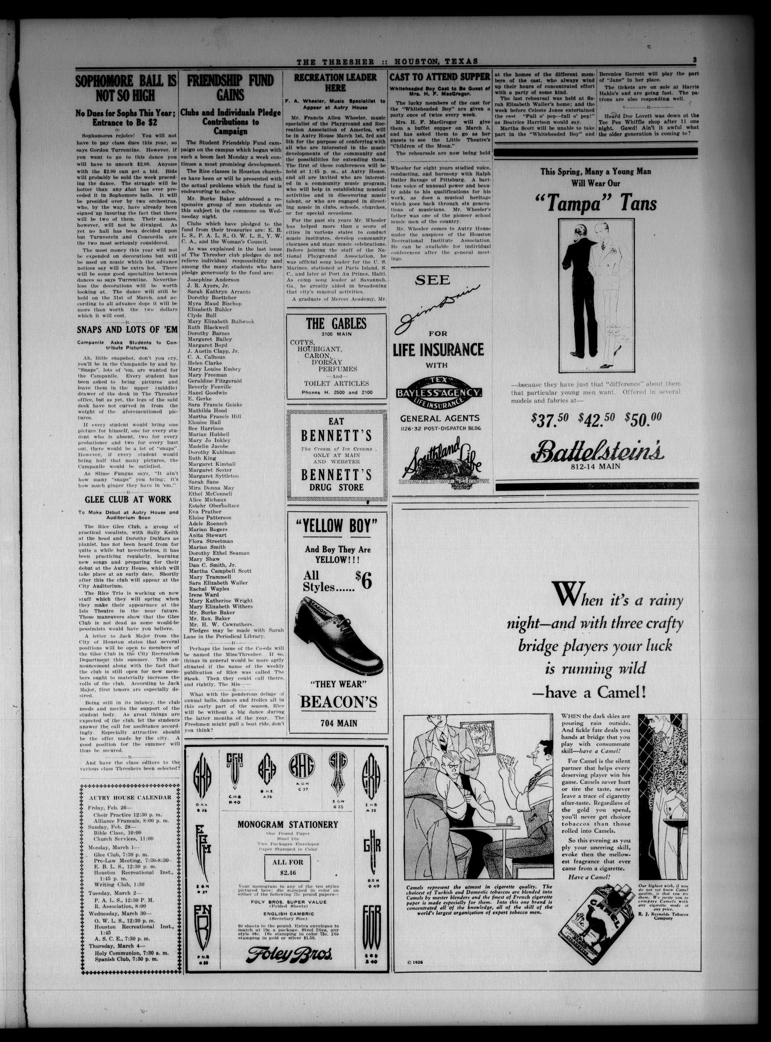 The Thresher (Houston, Tex.), Vol. 11, No. 19, Ed. 1 Friday, February 26, 1926                                                                                                      [Sequence #]: 3 of 4