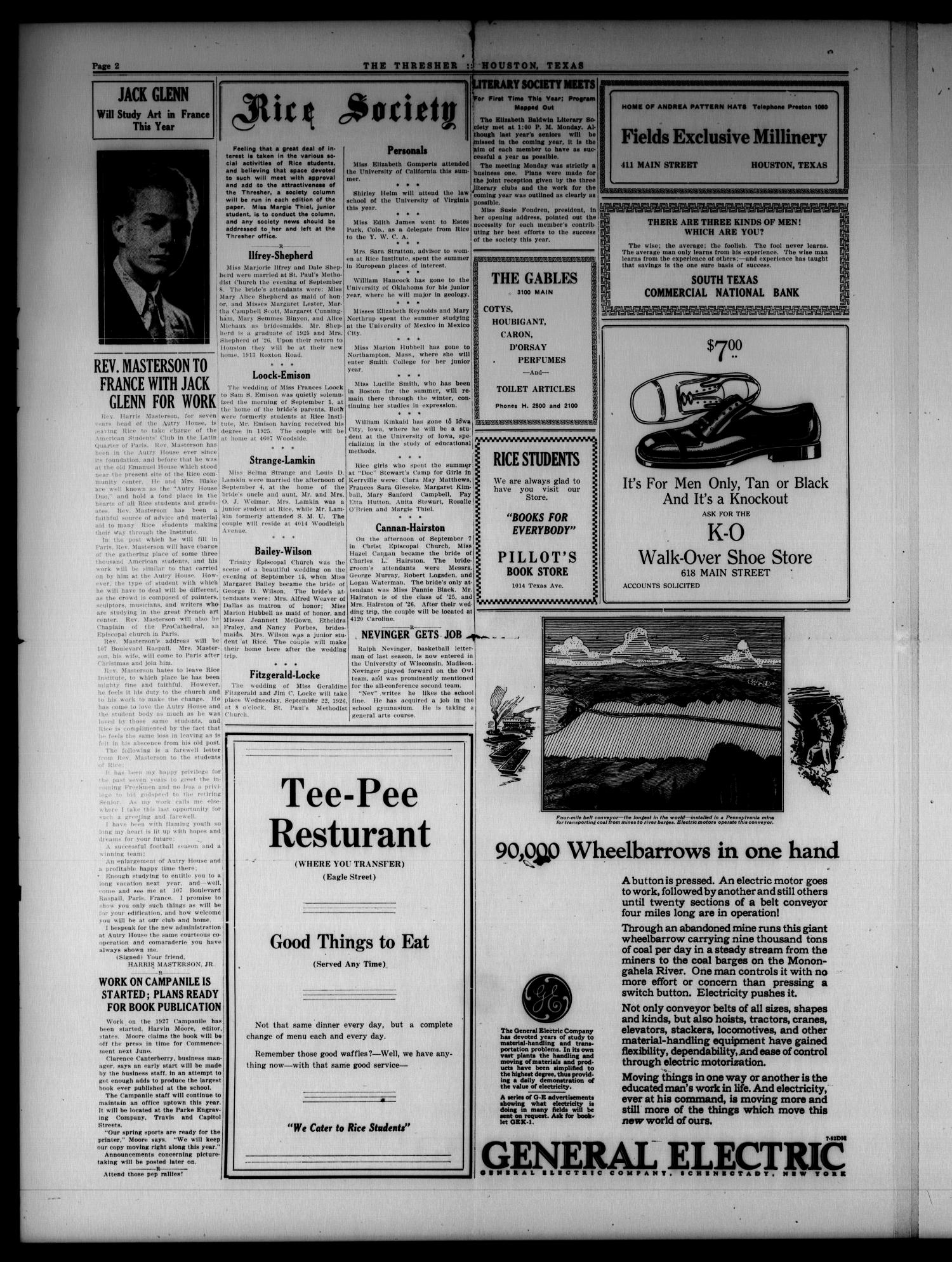 The Thresher (Houston, Tex.), Vol. 12, No. 1, Ed. 1 Tuesday, September 21, 1926                                                                                                      [Sequence #]: 2 of 6