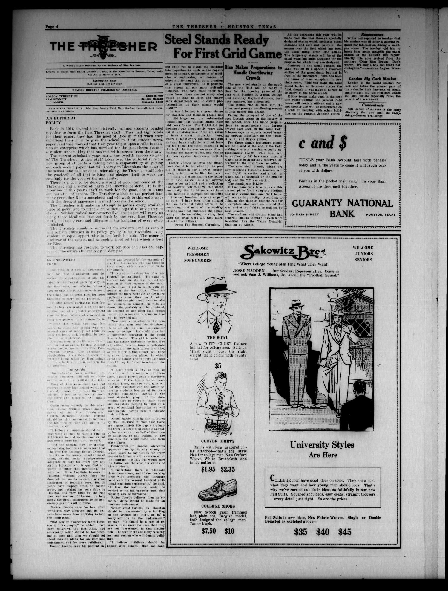 The Thresher (Houston, Tex.), Vol. 12, No. 1, Ed. 1 Tuesday, September 21, 1926                                                                                                      [Sequence #]: 4 of 6