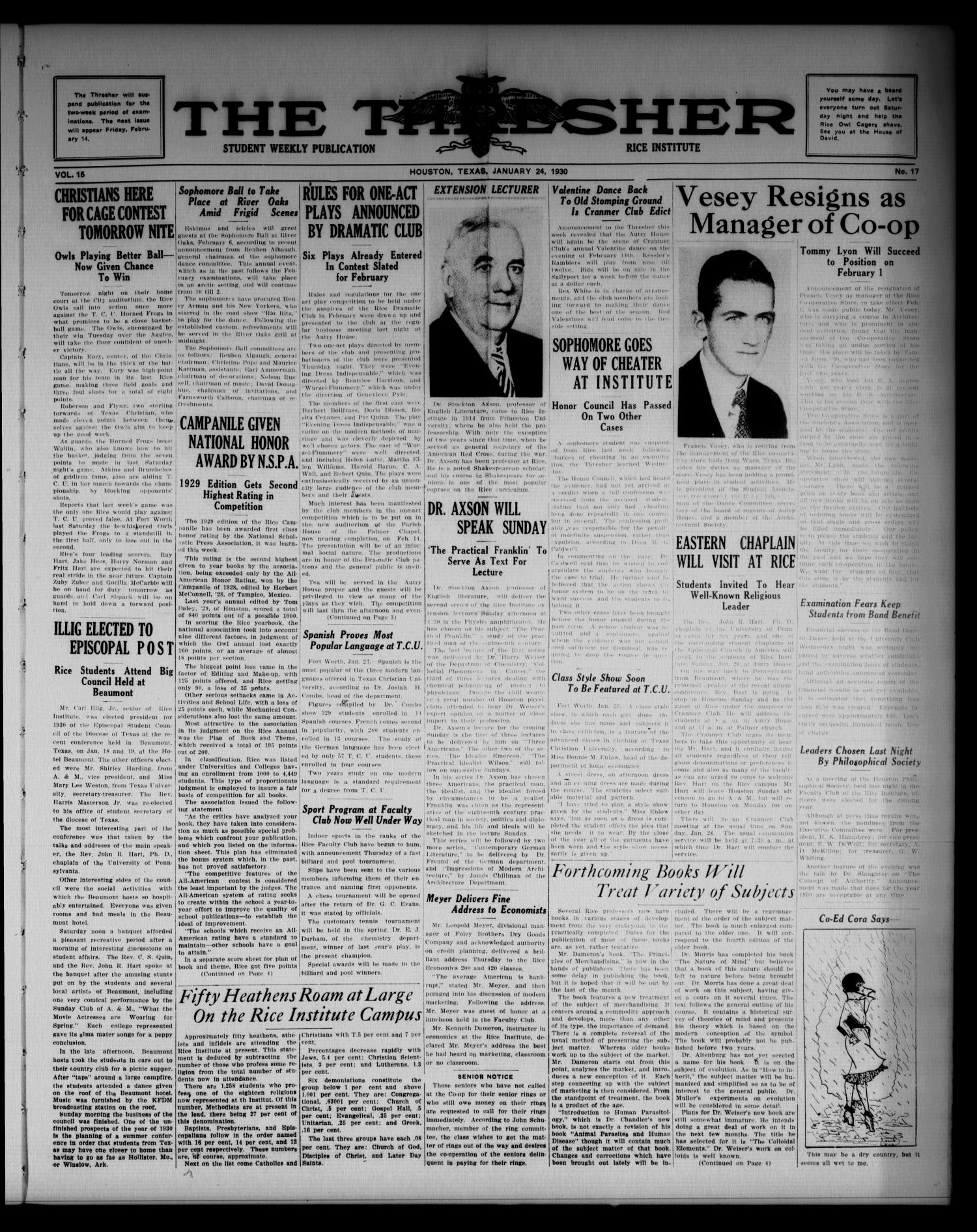 The Thresher (Houston, Tex.), Vol. 15, No. 17, Ed. 1 Friday, January 24, 1930                                                                                                      [Sequence #]: 1 of 4